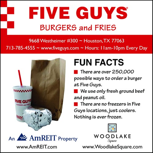 Create an ad for Five Guys Burgers and Fries