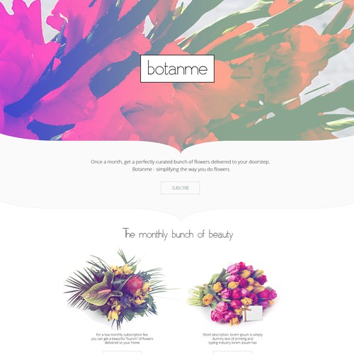 """BOTANME"" Create a simple, classic website for a monthly, floral delivery service!"