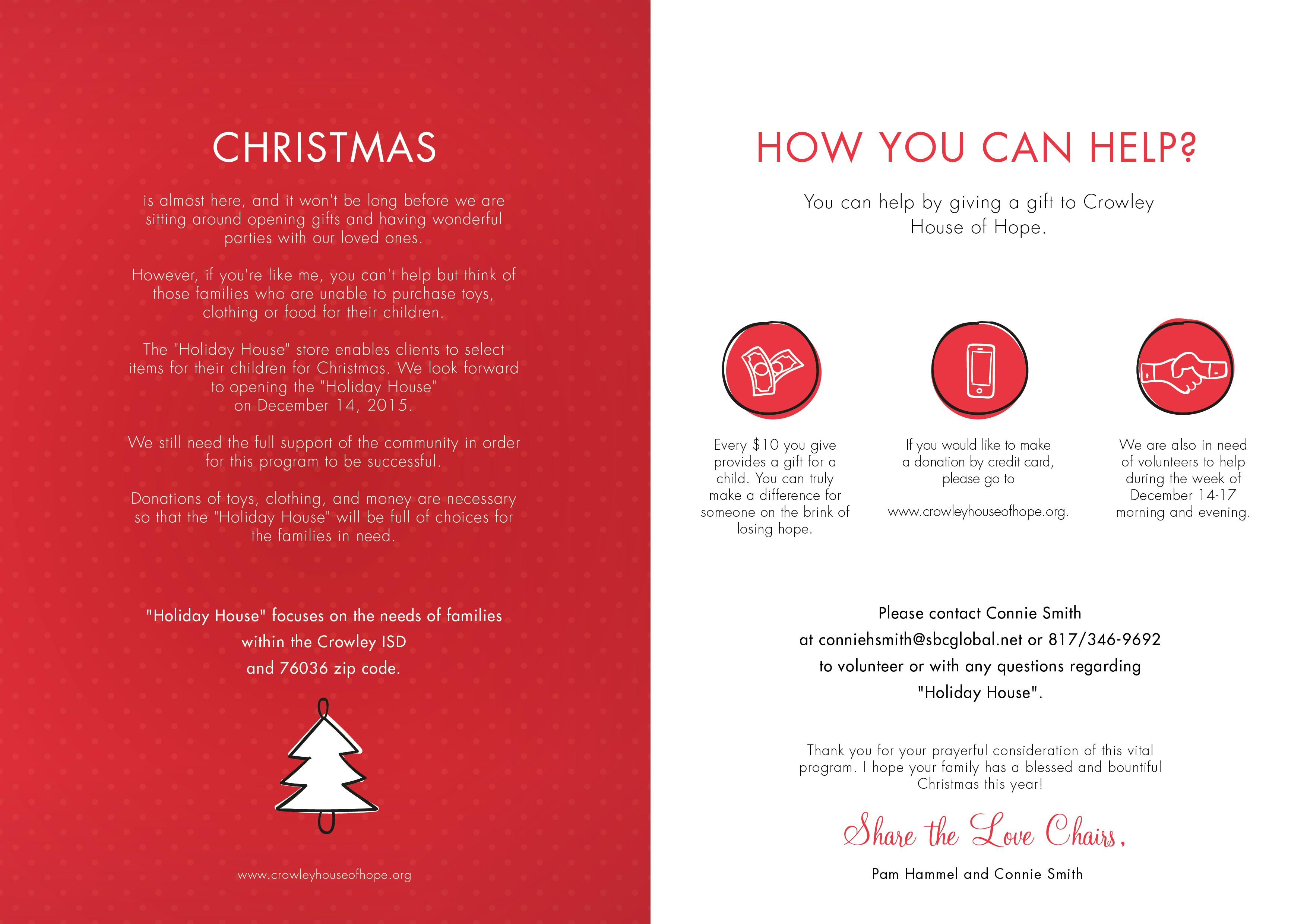 """Create a brochure for our non-profit """"Holiday House"""" for families in need"""