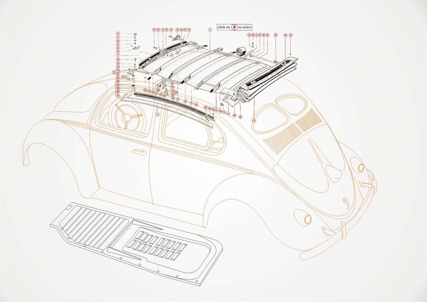 Create line drawings of various VW bug, bus, and truck.