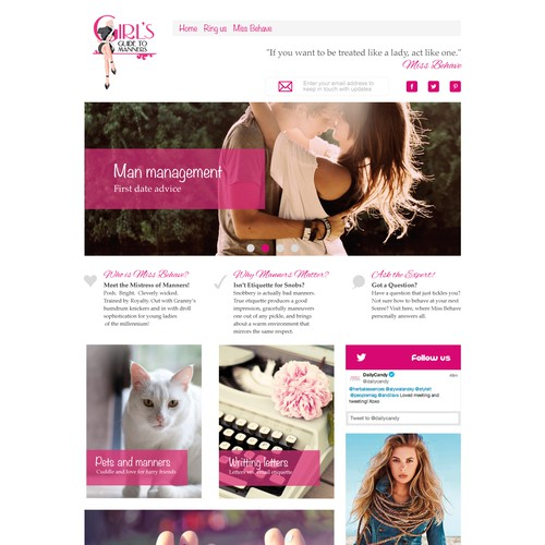 Elegant girly web site design for teenagers