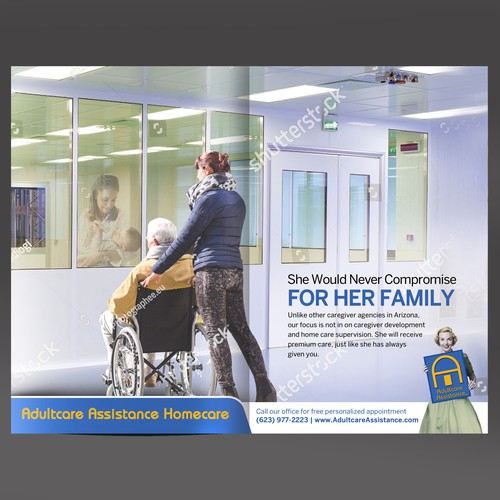 Full page advertisement for Adultcare Assistance