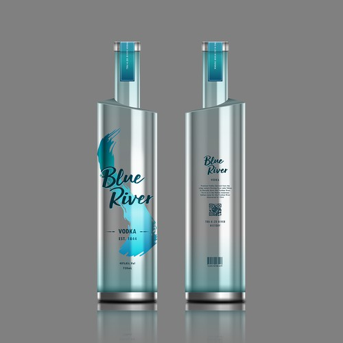 Blue River Vodka Label Design