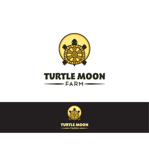 Create a logo for a local, sustainable farm with native american style turtle and moon