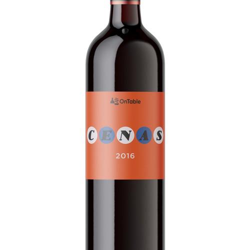Minimal label design for wine bottle
