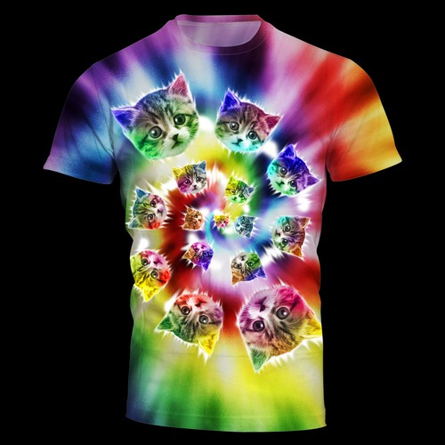 Create cute tie dye cat t-shirt