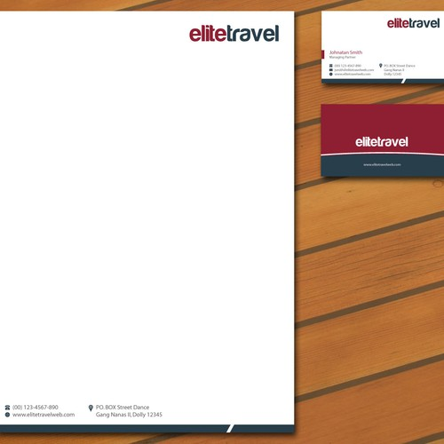 Design a business card & letterhead for Elite Travel.