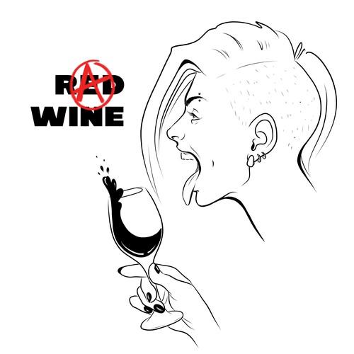 Wine drinkers T-shirt design (female)