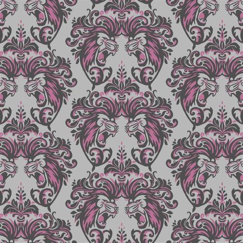 Roaring Lions Damask pattern design