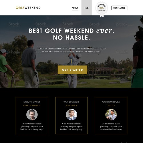 Initial website design for guys golf weekend startup