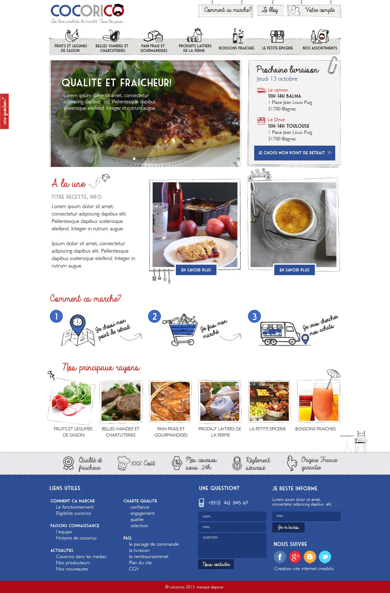 Create a modern webdesign for a French grocery store