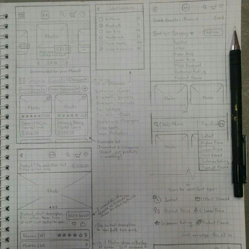 Design process for shopping app ui