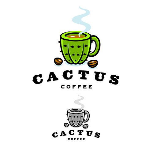 Cactus Coffee Logo Illustration