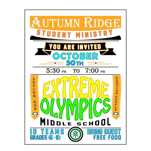 Poster: Middle School Student Ministry Extreme Olympics