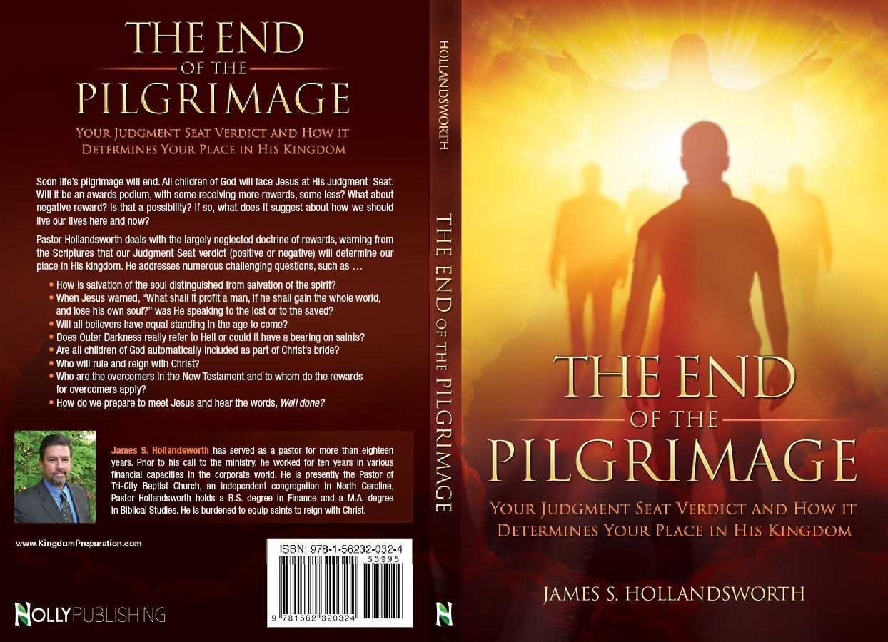 Design a creative book cover for a Christian living book: The End of the Pilgrimage