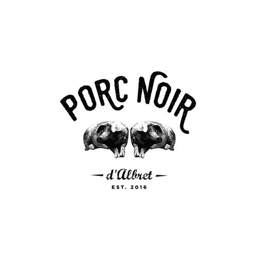 Un logo pour de la charcuterie de porc noir Gascon