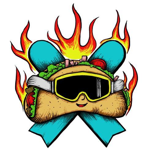 Taco & Snowboard Tattoo Design