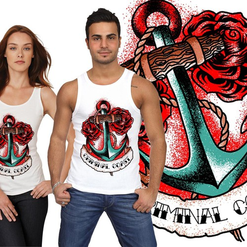 Tattoo Style Anchor Tank Top Design