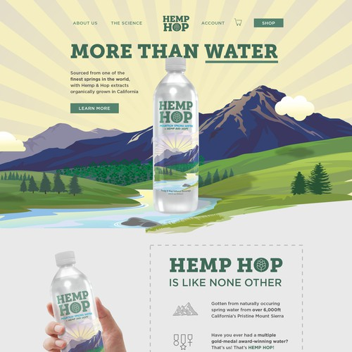 Design for Hemp Hop, spring water / beverage company.