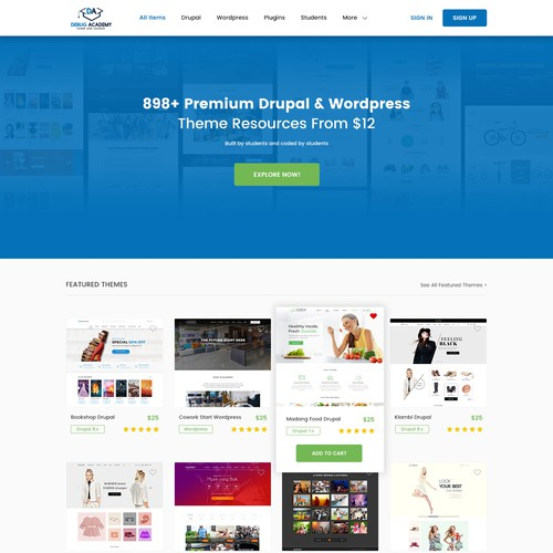 Design a template selling website with a purpose