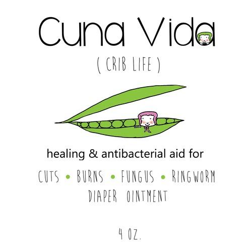 Cuna Vida label for children's ointment