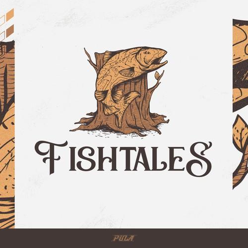 Log Home Illustration for Fishtales