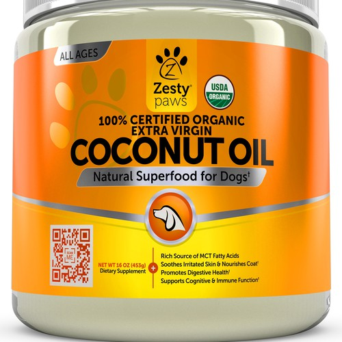 Coconut Oil 3D Image for Zesty Paws