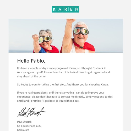 CEO greetings email design for Karen Care
