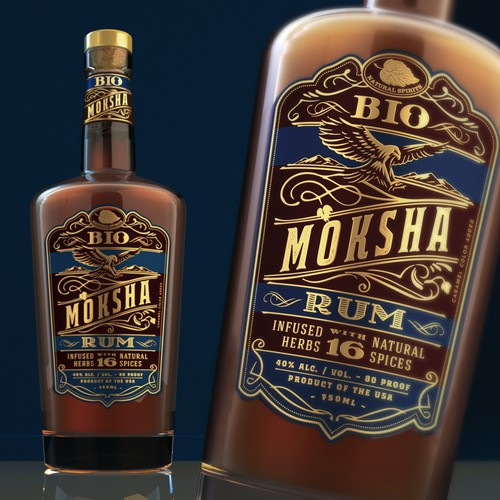 Design an eye catching label for an vintage new Rum brand