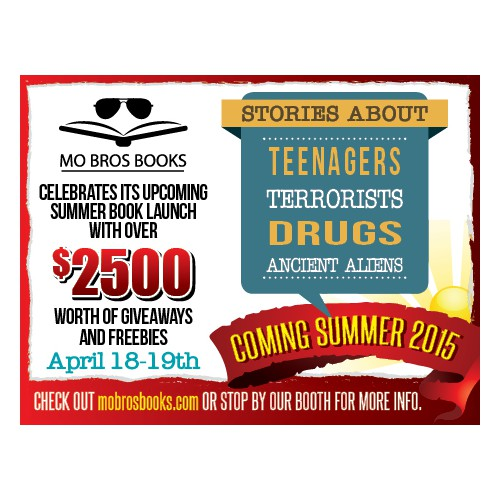 Create a 2.3 x 1.75 inch Mo Bros Books ad for LA Times Festival of Books