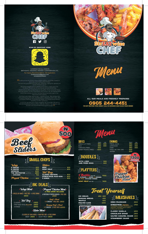 Captivating menu for a captivating brand.