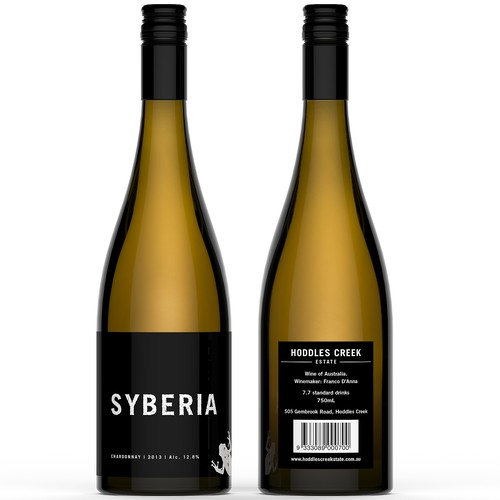 Product label for Syberia (by  Hoddles Creek Estate)