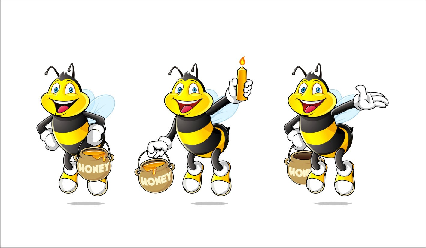 Create a Cute and Cuddly Cartoon Bee Mascot for Epic Beeswax