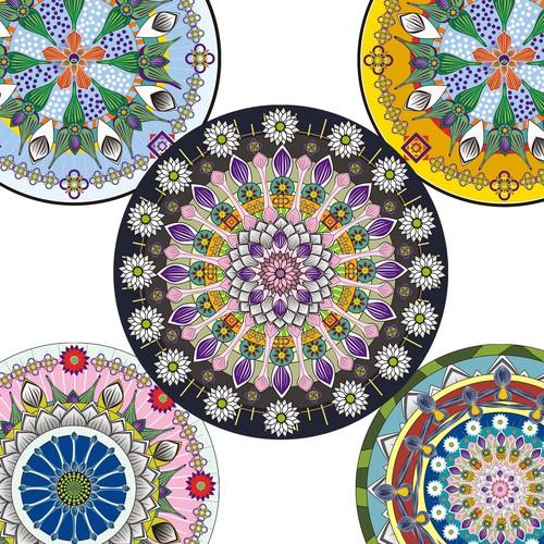 Art for swimwear fabric with a theme of Amalfi Ceramics.