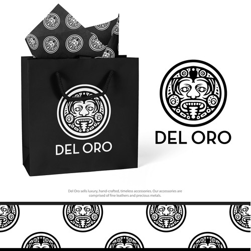 Aztec influenced logo for Mexican Luxury Accessories Brand