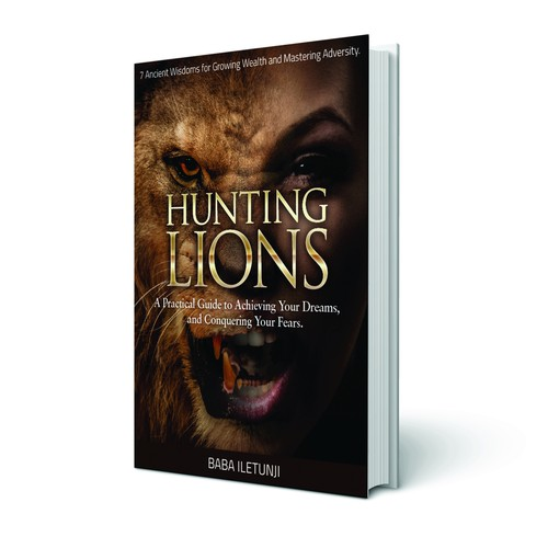 Create a exciting book cover: HUNTING LIONS