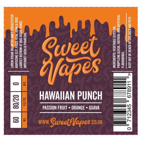 Logo and Label design for Sweet Vapes E-Liquid
