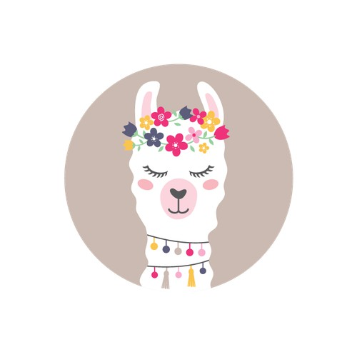 llama with flower crown