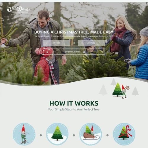 Illustrative web design for Christmas tree farm
