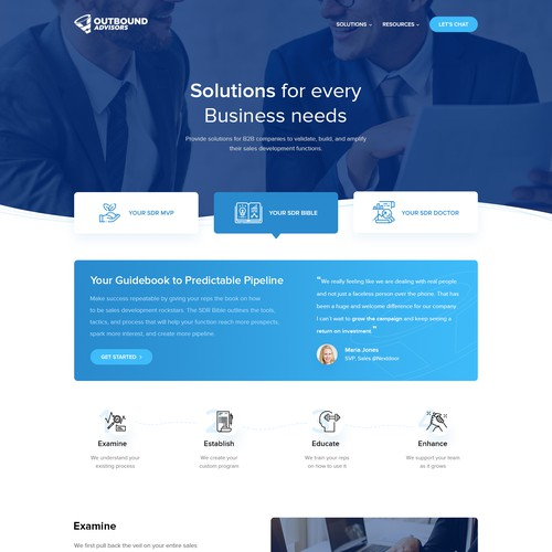 Outbound advisors Solutions page design