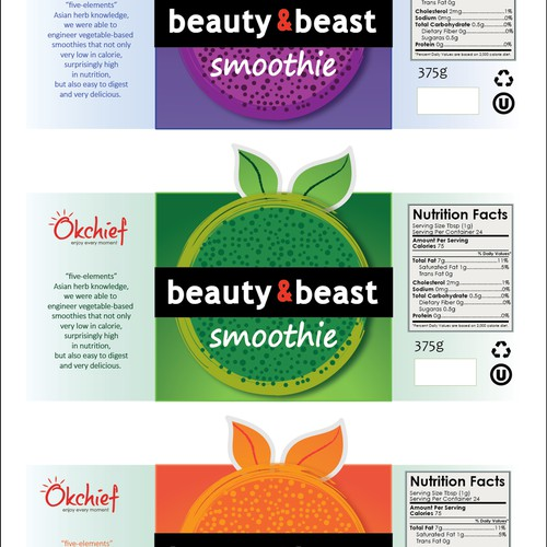 Label concept for smoothie