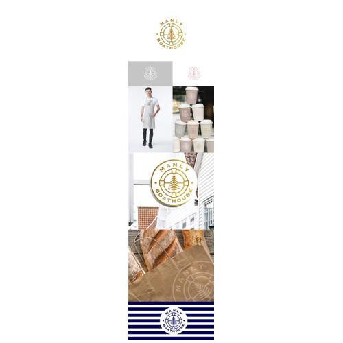 "Logo design for a white coastal seaside restaurant beside largest marina in southern-hemisphere ""Manly Boathouse"""