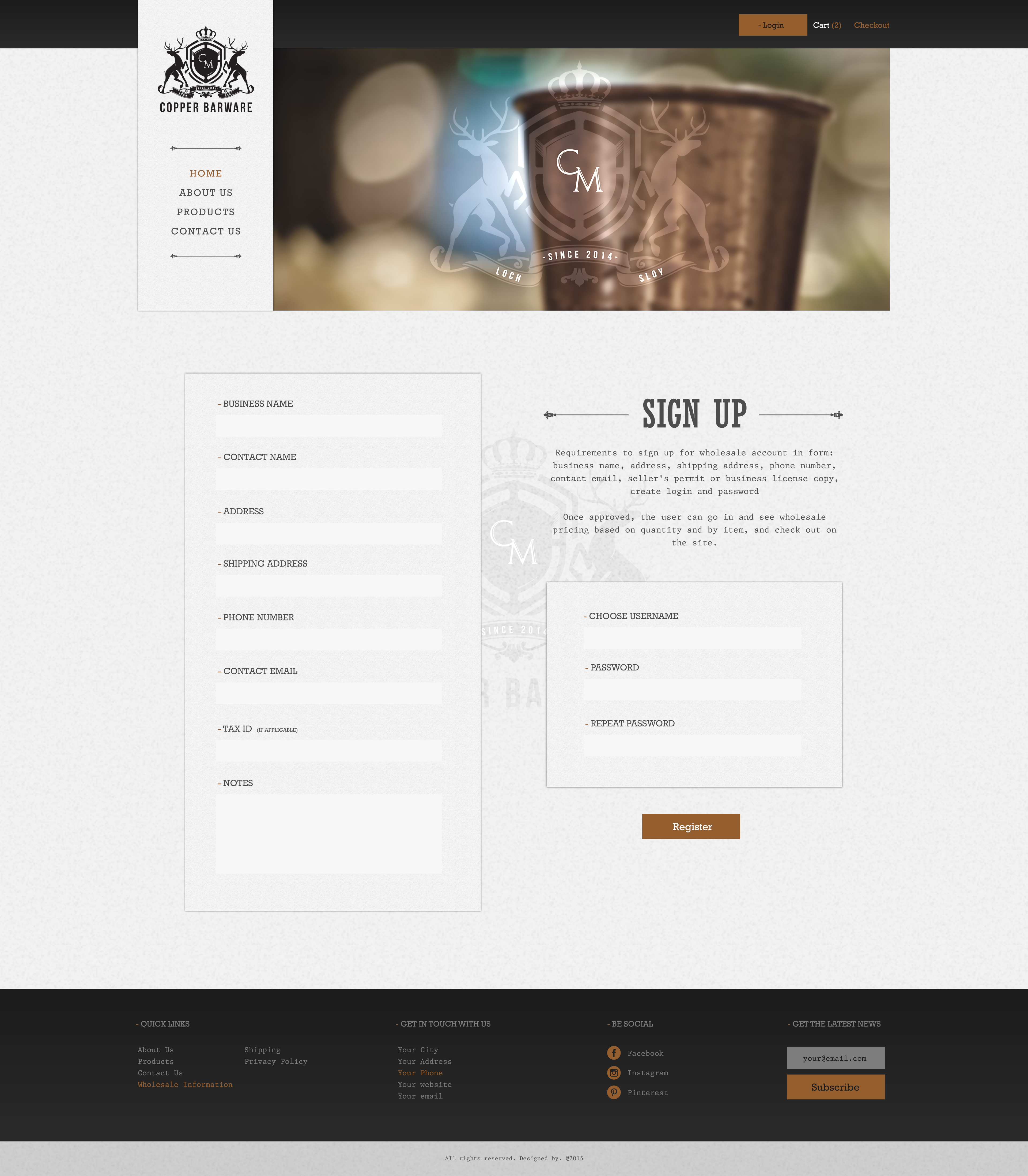 CopperBarware.com Website Design