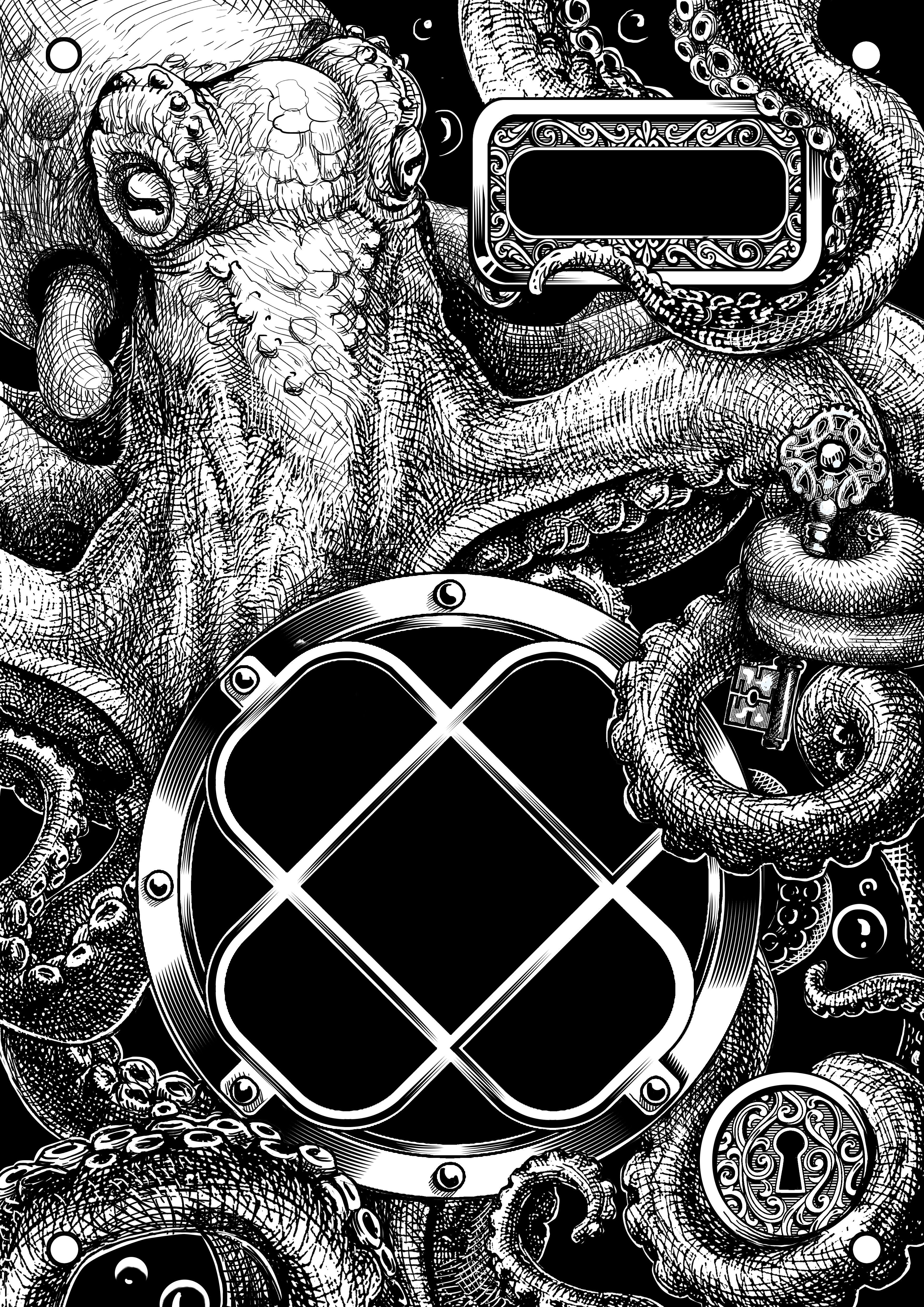 Draw an intriguing steampunk journal cover featuring an octopus and diver's faceplate