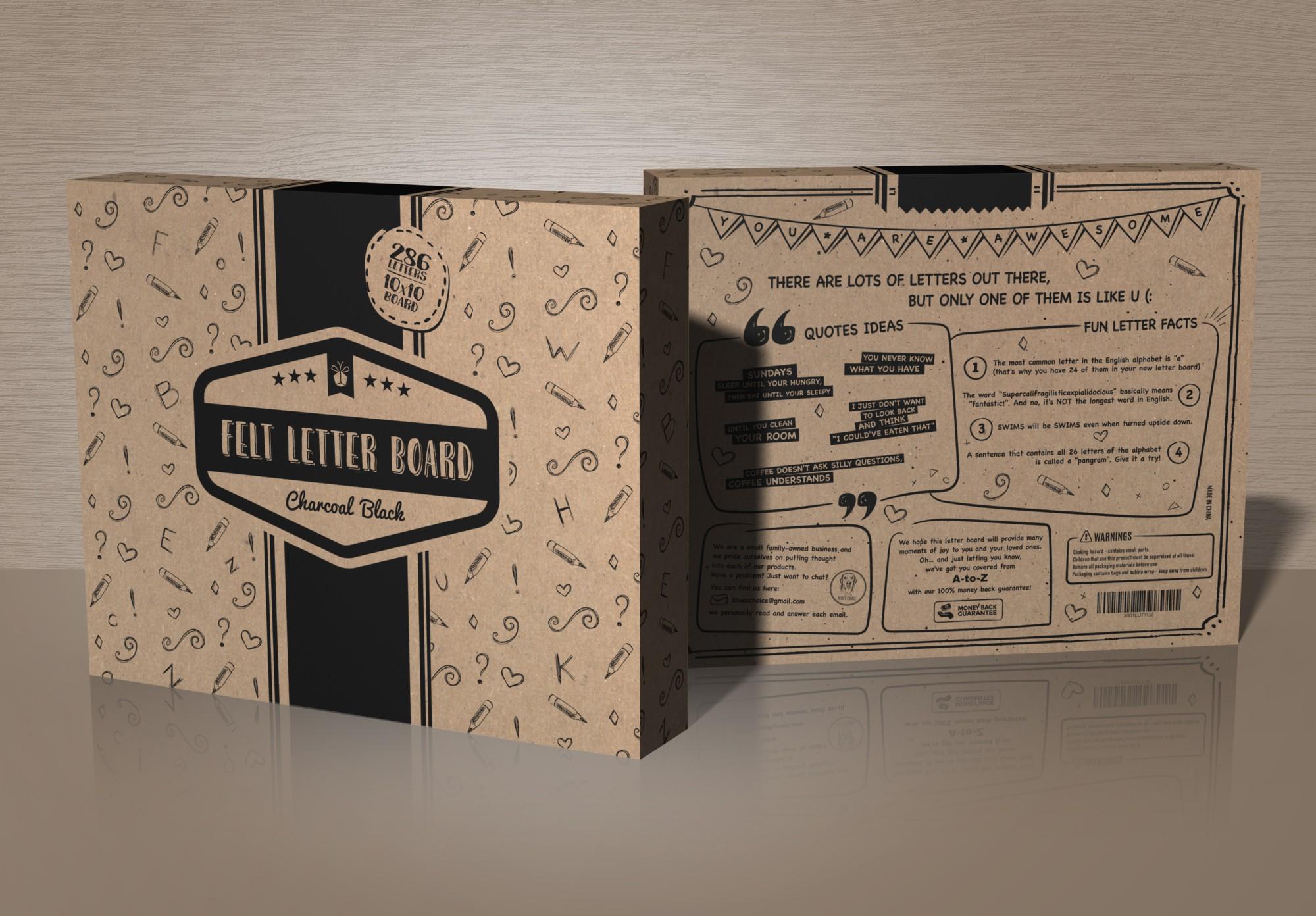 Crafty & playful design needed for a Felt Letter Board packaging