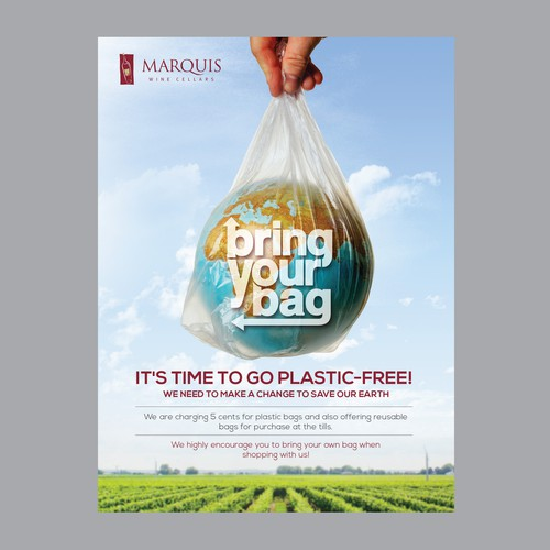 Poster calling customers attention for use of reusable bags