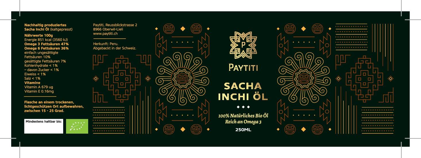 bottle label design for organic Sacha Inchi Oil for Swiss market. Opportunity for more design work