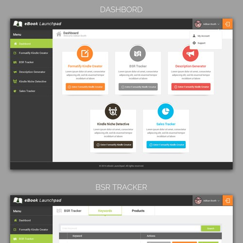 Website interface design for a suite of software tools