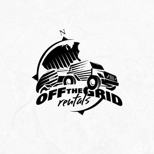 "Off Roading Jeep with Trailer Logo for ""Off the Grid Rentals"""