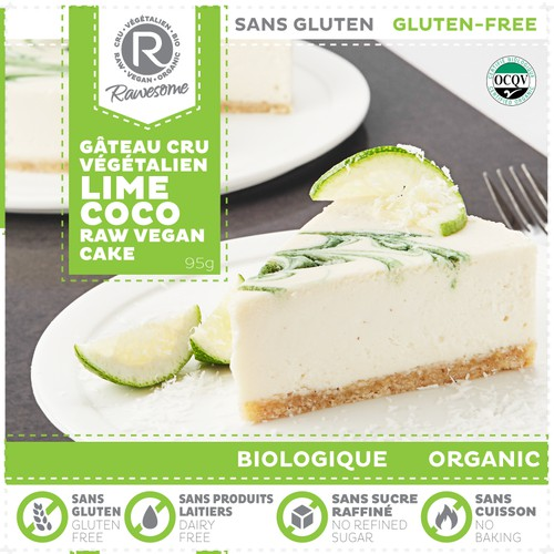 Packaging for raw vegan organic cake